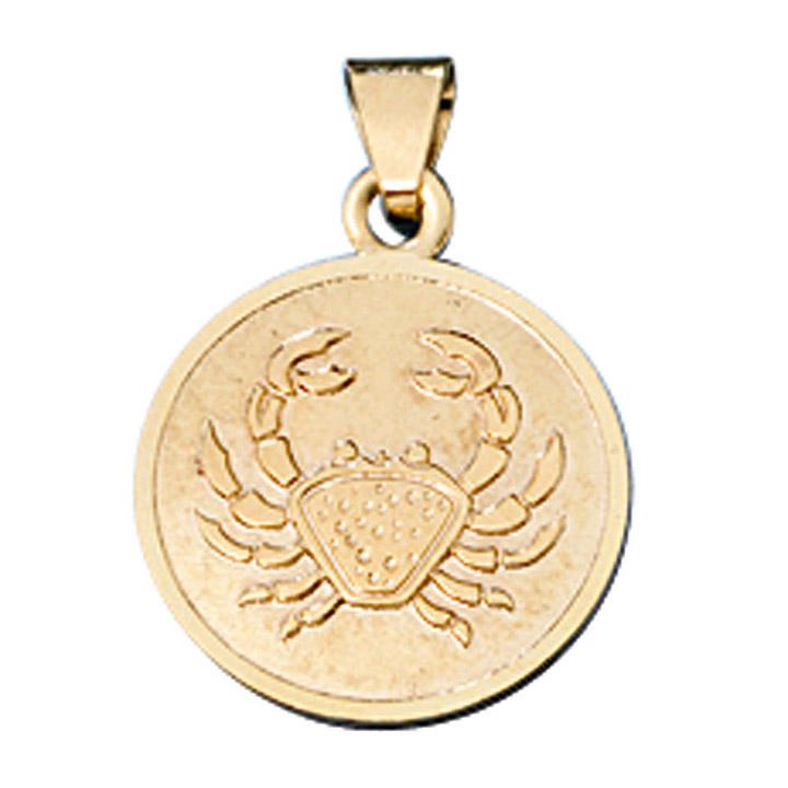 Anhänger Sternzeichen Krebs 333 Gold Gelbgold matt Sternzeichenanhänger