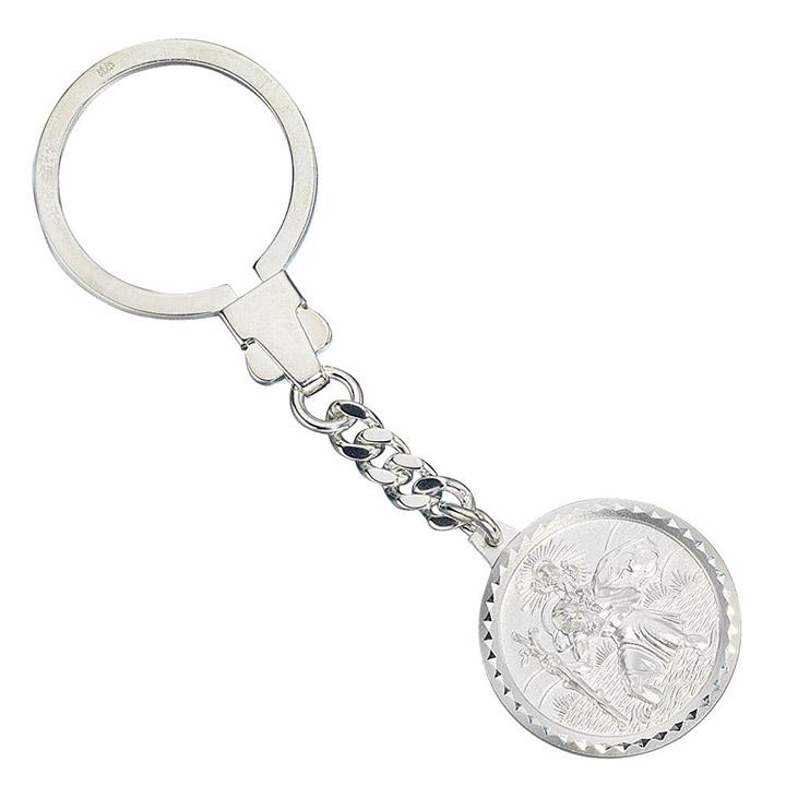 Schlüsselanhänger Schutzpatron Christopherus 925 Sterling Silber mattiert