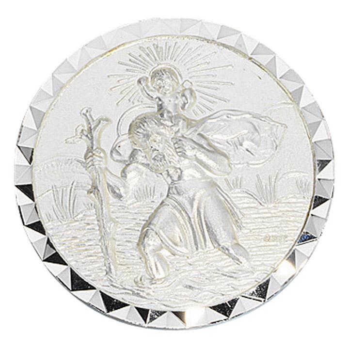 Autoplakette Schutzpatron Christopherus 925 Sterling Silber mattiert