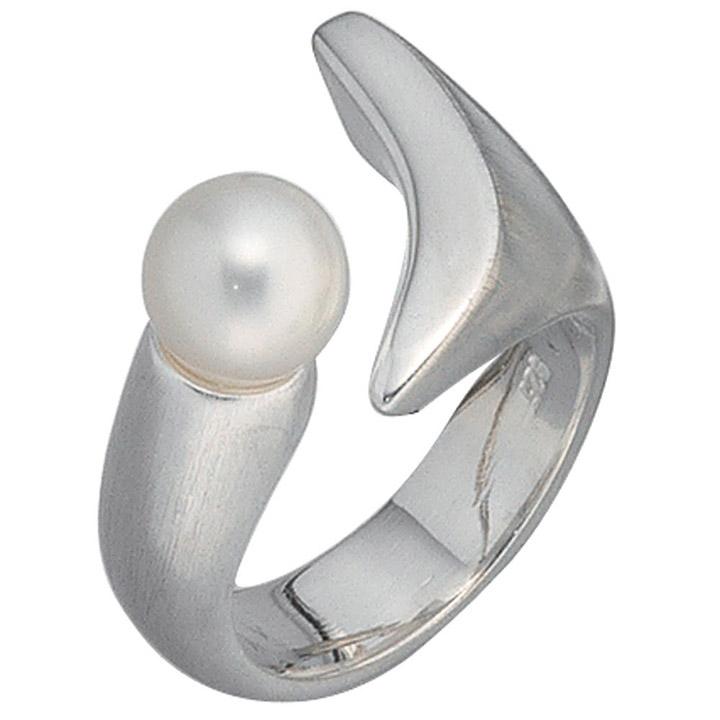 Damen Ring 925 Sterling Silber mattiert 1 Süßwasser Perle Silberring Perlenring