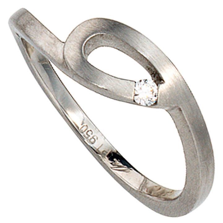 Damen Ring 950 Platin matt 1 Diamant Brillant 0,04ct. Platinring