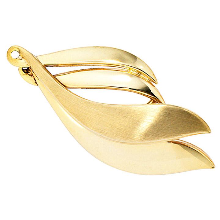 Brosche 333 Gold Gelbgold mattiert Goldbrosche