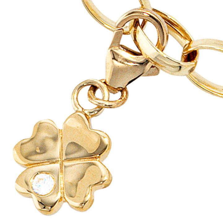 Einhänger Charm Kleeblatt 333 Gold Gelbgold 1 Zirkonia Glücksbringer