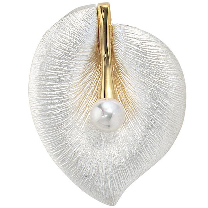 Anhänger Blatt 925 Silber bicolor mattiert 1 Süßwasser Perle Perlenanhänger