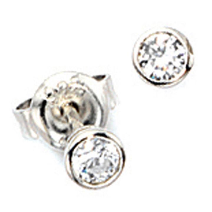 Ohrstecker rund 925 Sterling Silber rhodiniert 2 Zirkonia Ohrringe