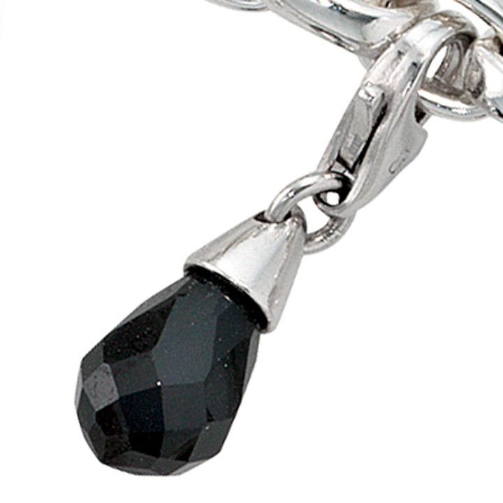 Einhänger Charm Tropfen 925 Sterling Silber rhodiniert 1 Zirkonia schwarz