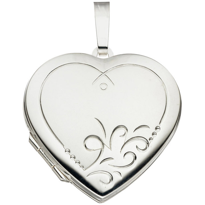 Medaillon Herz 925 Sterling Silber mattiert Anhänger zum Öffnen