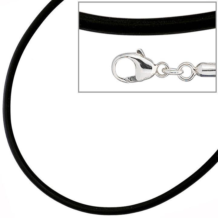 Halskette Kautschuk schwarz mit 925 Silber 2 mm 45 cm Kautschukkette