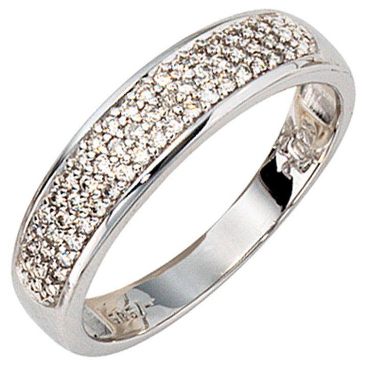 Damen Ring 585 Gold Weißgold 50 Diamanten Brillanten 0,25ct. Weißgoldring