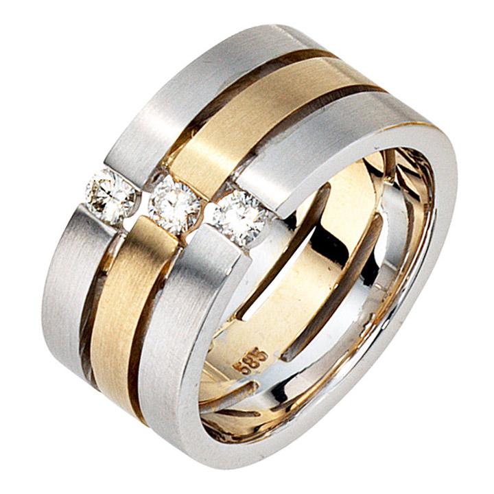 Damen Ring 3-reihig breit 585 Gold Weißgold Gelbgold bicolor matt 3 Diamanten