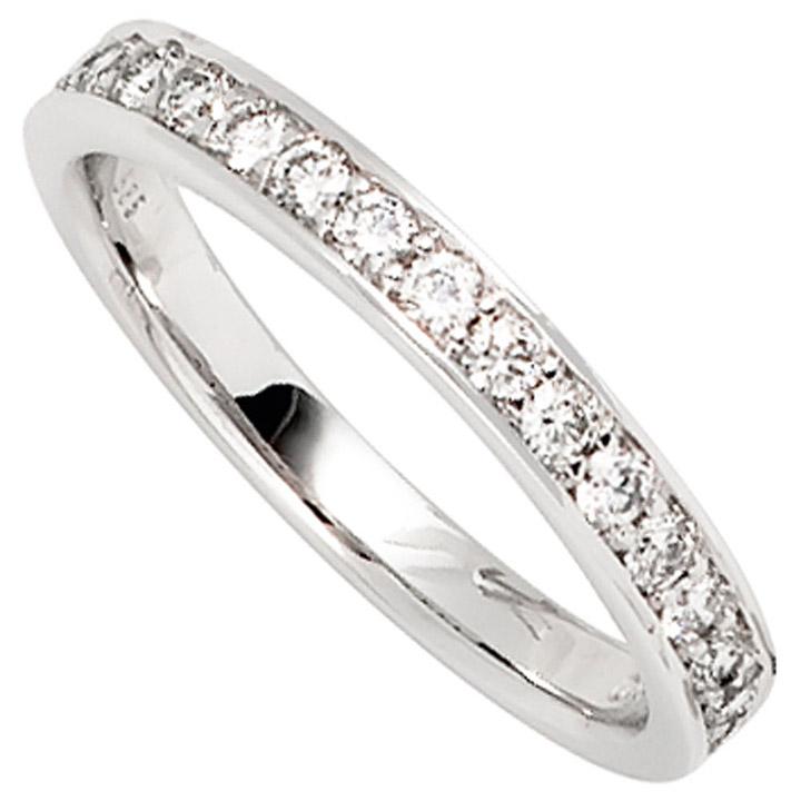 Damen Ring 585 Gold Weißgold 17 Diamanten Brillanten 0,50ct. Weißgoldring