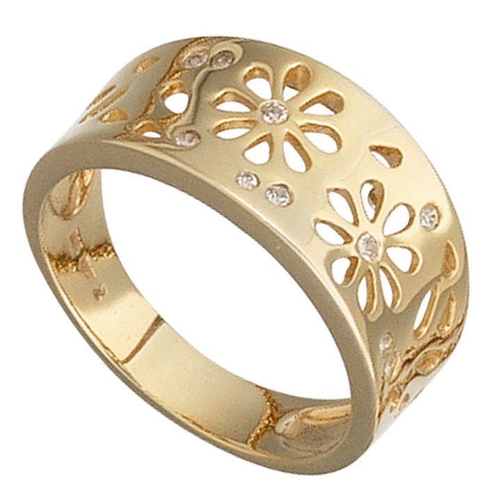 Damen Ring Blumen 585 Gold Gelbgold 10 Diamanten 0,09ct. Goldring Blumenmuster