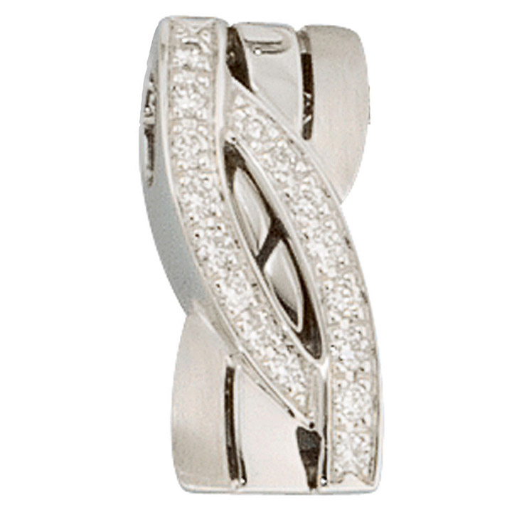 Anhänger 585 Gold Weißgold mattiert 16 Diamanten Brillanten Goldanhänger