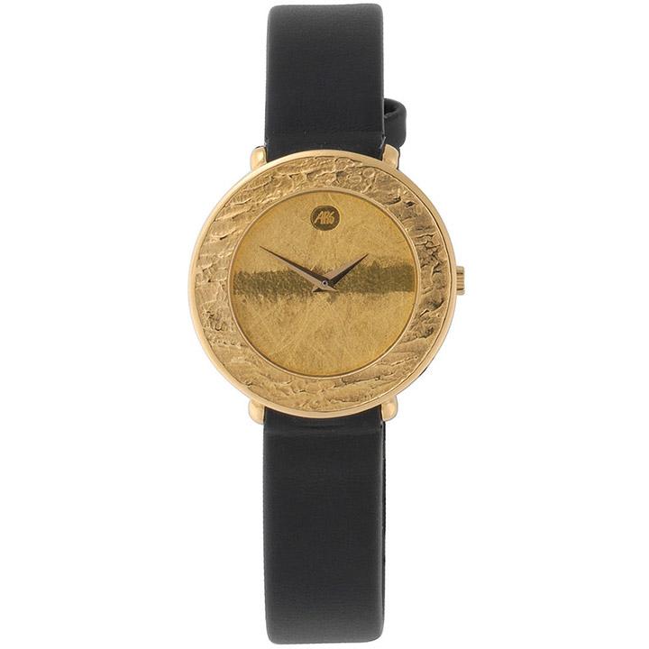 Damen-Armbanduhr Quarz Analog 750 Gold Gelbgold Lederband Safirglas
