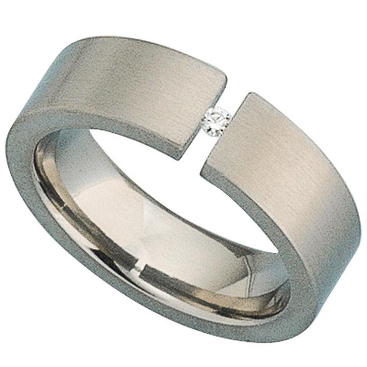 Damen Ring Titan mattiert 1 Diamant Brillant 0,03ct.