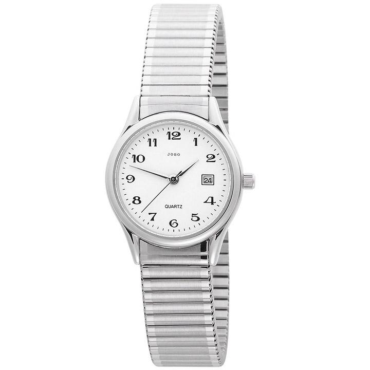 Damen Armbanduhr Quarz Analog Edelstahl Flexband Datum Damenuhr