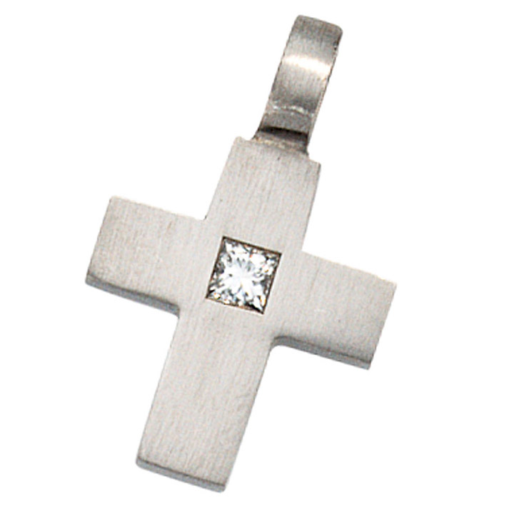 Anhänger Kreuz 950 Platin 1 Diamant 0,06ct. Kreuzanhänger Platinkreuz