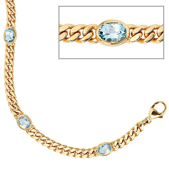 Armband 585 Gold Gelbgold 19 cm 4 Blautopase hellblau blau Goldarmband Karabiner