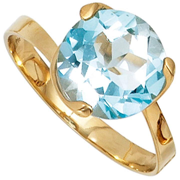 Damen Ring 585 Gold Gelbgold 1 Blautopas hellblau blau Goldring