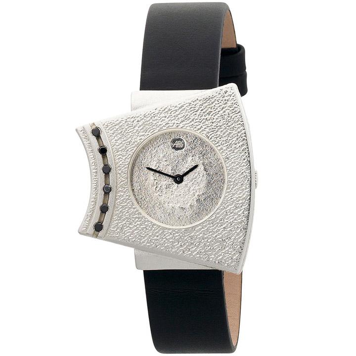 Damen-Armbanduhr Quarz Analog 925 Sterling Silber Lederband Mineralglas