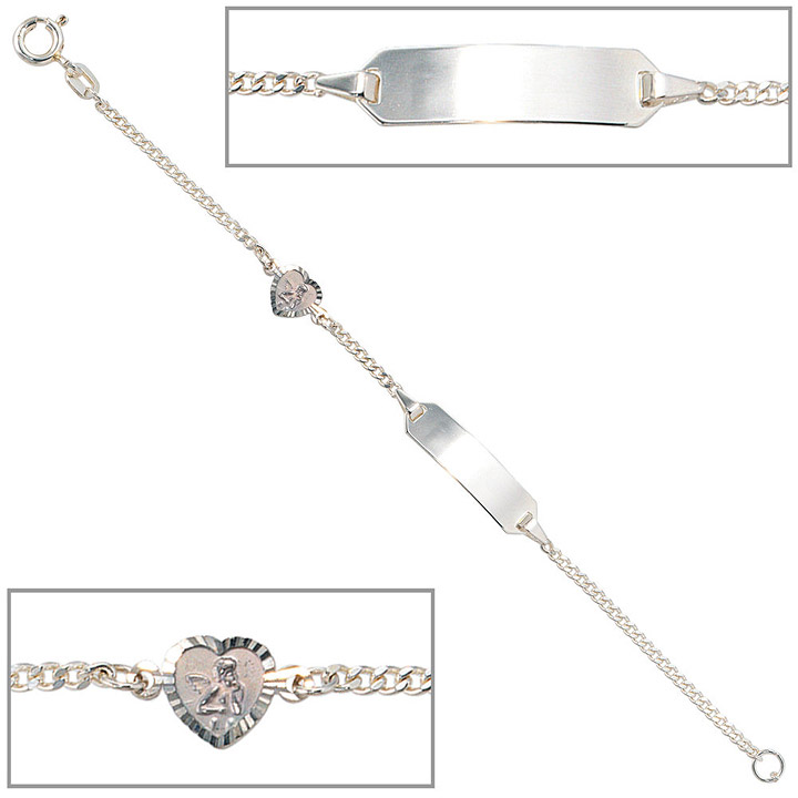 Schildband Schutzengel 925 Sterling Silber 14 cm Gravur ID Armband Federring