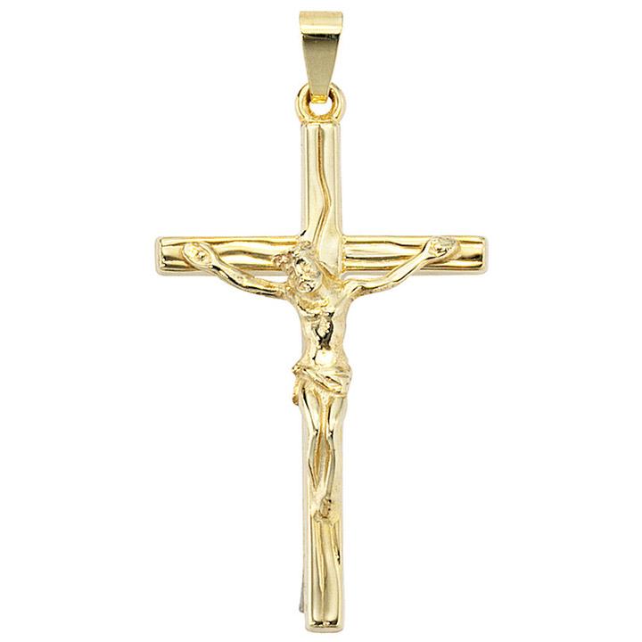 Anhänger Kreuz 585 Gold Gelbgold Kreuzanhänger Goldkreuz