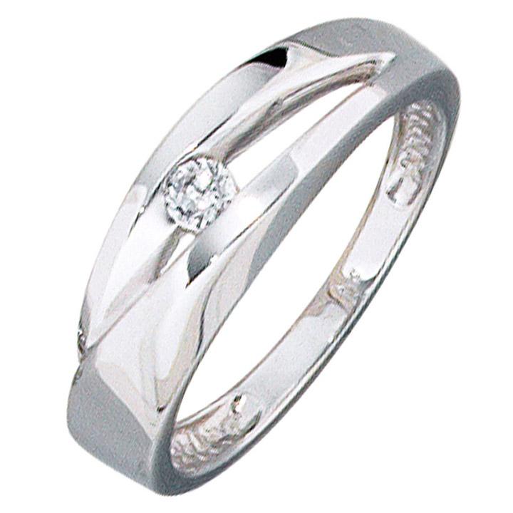 Damen Ring 375 Gold Weißgold 1 Zirkonia Goldring