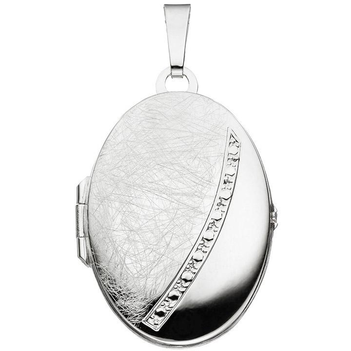 Medaillon oval 925 Sterling Silber eismatt Anhänger zum Öffnen