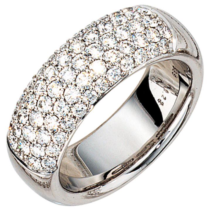 Damen Ring 585 Gold Weißgold 62 Diamanten Brillanten 1,22ct. Weißgoldring