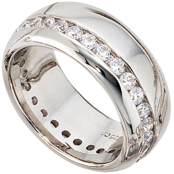 Damen-Ring mit Zirkonia aus 925 Sterling Silber rhodiniert