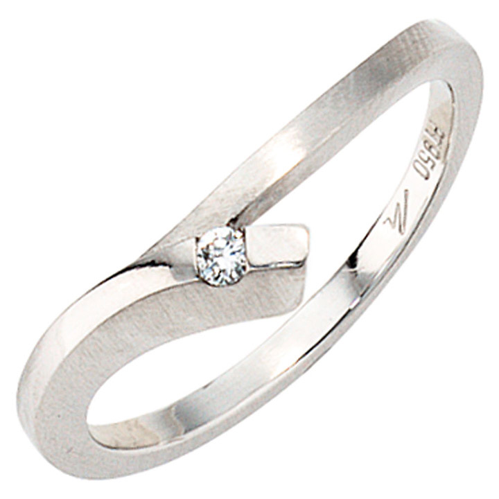Damen Ring 950 Platin mattiert 1 Diamant Brillant 0,03ct. Platinring