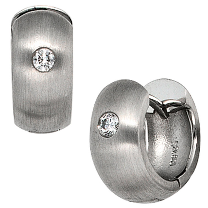 Creolen breit 950 Platin mattiert 2 Diamanten Brillanten Ohrringe Platinohrringe