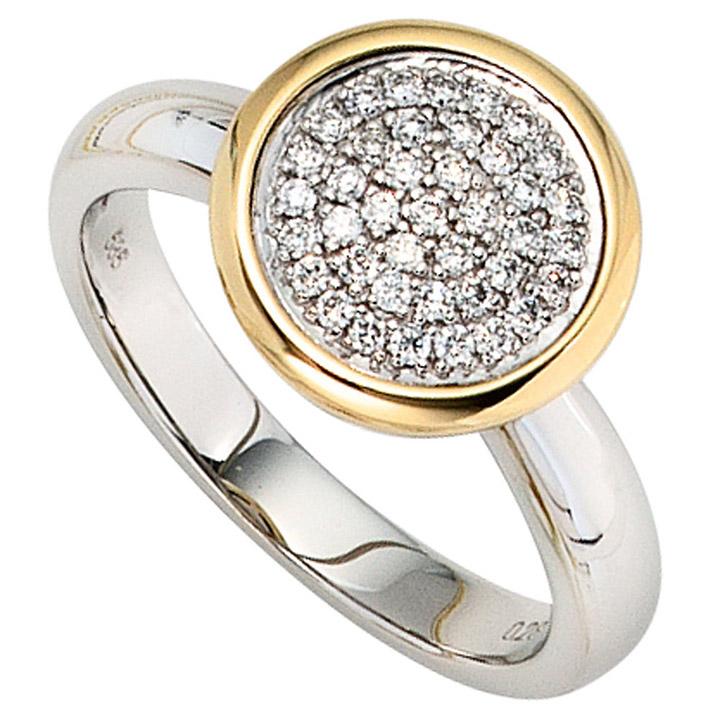 Damen Ring 585 Gold Weißgold Gelbgold bicolor 40 Diamanten Brillanten Goldring