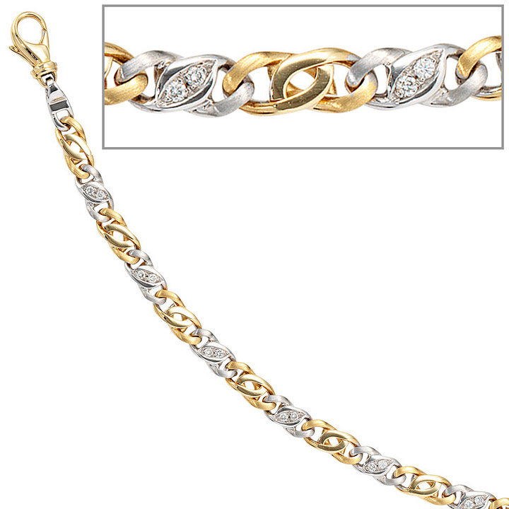 Armband 585 Gold Gelbgold Weißgold bicolor 16 Diamanten Brillanten 18,5 cm