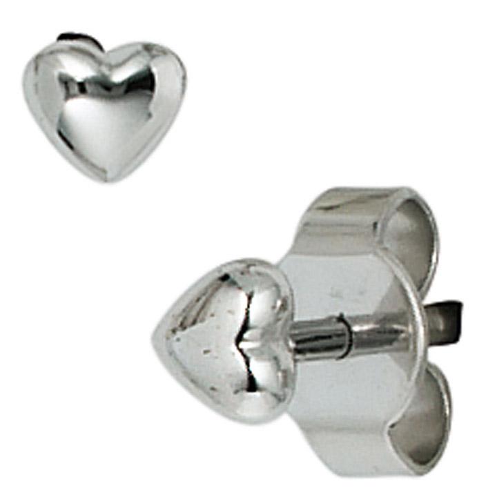 Ohrstecker Herz Herzen 585 Gold Weißgold Ohrringe Goldohrstecker