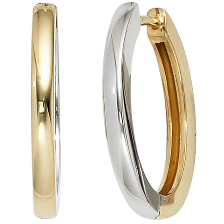 Fabrik niedrigster Rabatt online zum Verkauf Creolen oval 585 Gold Gelbgold Weißgold bicolor Ohrringe Goldcreolen