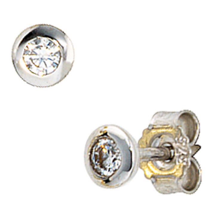 Ohrstecker rund 375 Gold Weißgold 2 Zirkonia Ohrringe