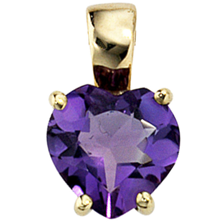 Anhänger Herz 333 Gold Gelbgold 1 Amethyst lila violett Herzanhänger