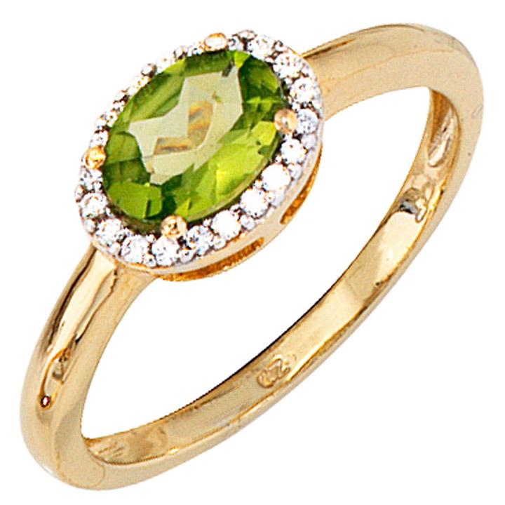 Damen Ring 585 Gold Gelbgold bicolor 1 Peridot grün 20 Diamanten Goldring