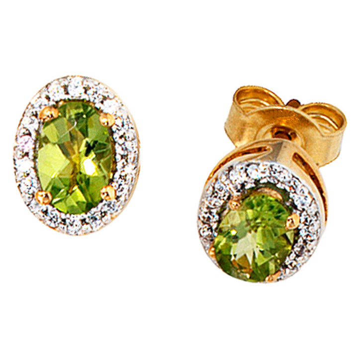 Ohrstecker oval 585 Gelbgold 1 Diamant Brillant 2 Peridote grün Ohrringe