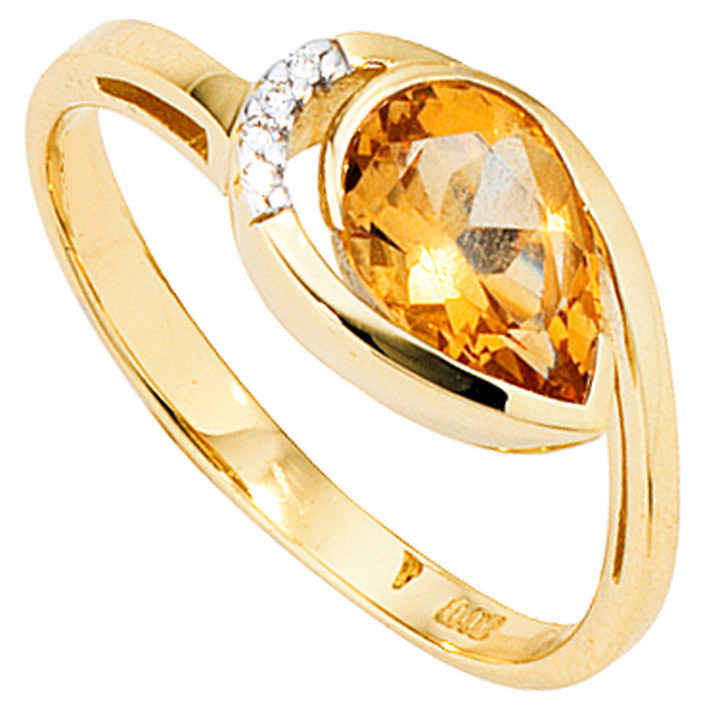 Damen Ring 585 Gold Gelbgold bicolor 1 Citrin orange 4 Diamanten Brillanten