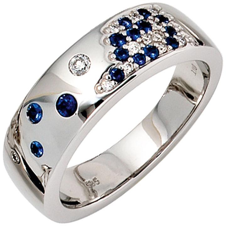 Damen Ring 585 Gold Weißgold 13 Diamanten Brillanten 0,10ct. 15 Safire blau