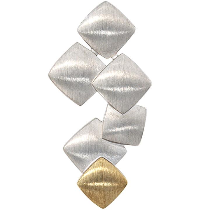 Anhänger 585 Gold Gelbgold mit 925 Sterling Silber bicolor mattiert Goldanhänger