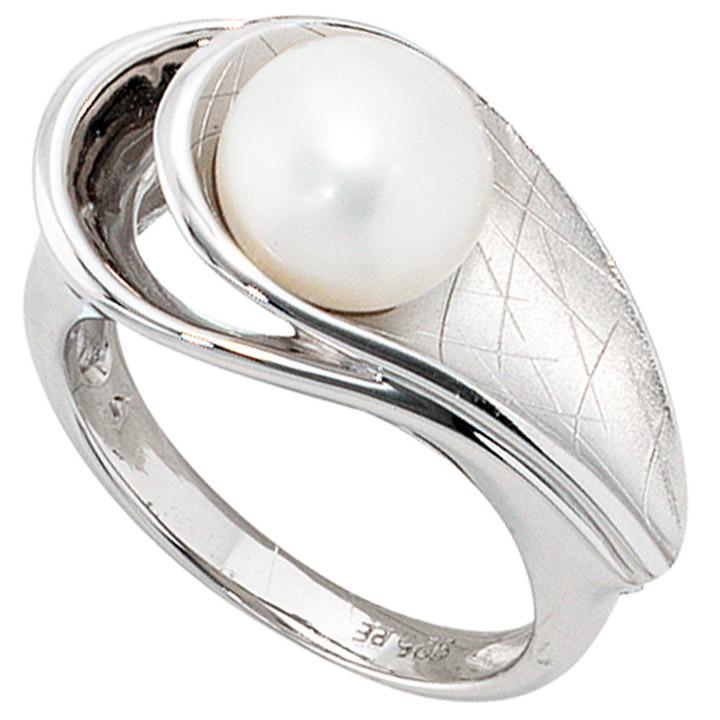Damen Ring 925 Sterling Silber rhodiniert mattiert 1 Süßwasser Perle Perlenring