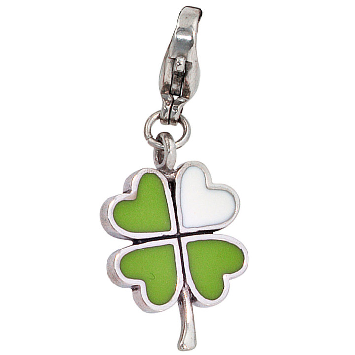 Einhänger Charm Kleeblatt grün Edelstahl Glücksbringer