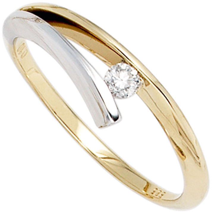 Damen Ring 585 Gold Gelbgold Weißgold bicolor 1 Diamant Brillant 0,10ct.