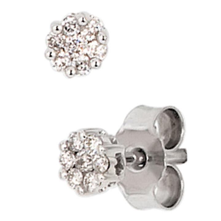 Ohrstecker 585 Gold Weißgold 14 Diamanten Brillanten 0,15ct. Ohrringe