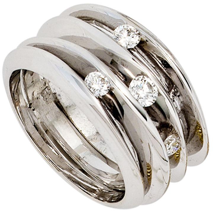 Damen Ring breit 585 Gold Weißgold 4 Diamanten Brillanten 0,41ct. Weißgoldring