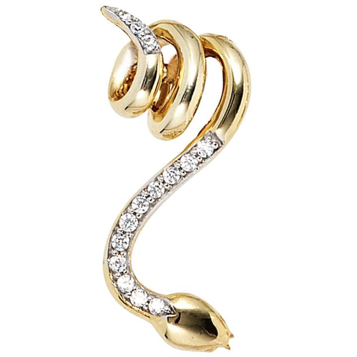 Anhänger Schlange 585 Gold Gelbgold 14 Diamanten Brillanten Schlangenanhänger