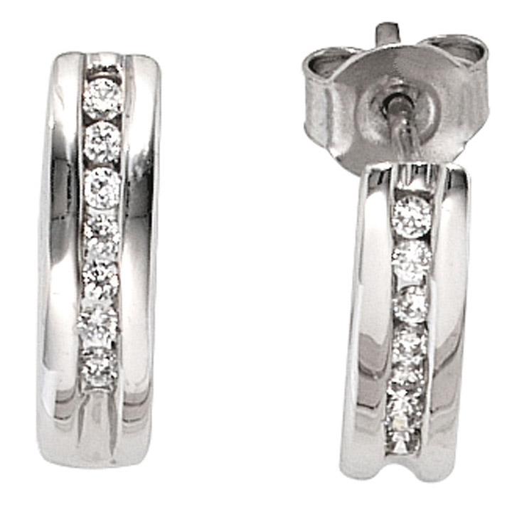 Halbcreolen 585 Gold Weißgold 14 Diamanten Brillanten 0,15ct. Ohrringe Creolen